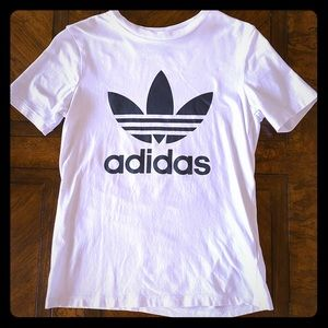 Adidas White Women's T-Shirt, Black Logo, Size XS